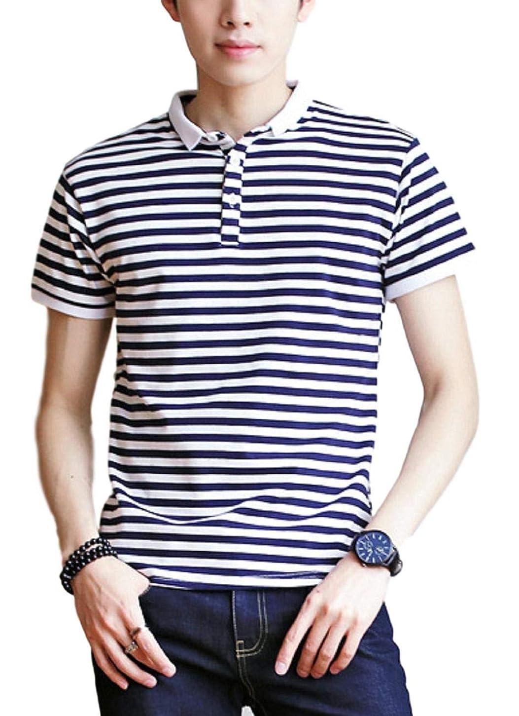 ランチョン割り当てる後者[ラルジュアルブル] ポロシャツ ボーダー カットソー 襟付き Tシャツ インナー アウター かっこいい シンプル カジュアル トップス