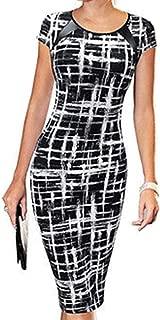 Rui Wen Women Half-Sleeve High Waist Office Formal Bodycon Dress Business
