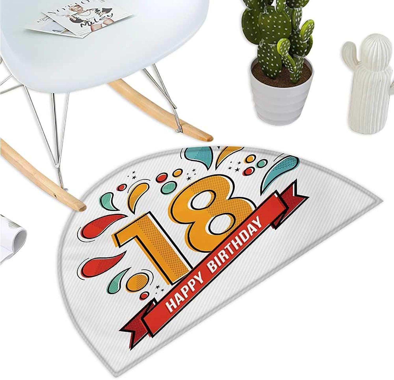18th Birthday Semicircular Cushion Multicolord Digital Print on Eighteen Years Happy Birthday Lettering Print Bathroom Mat H 39.3  xD 59  Multicolor