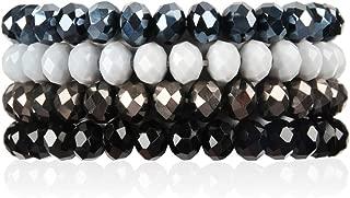 Bohemian Multi-Layer Beaded Stacking Bracelets - Versatile Stretch Strand Sparkly Crystal Beads Statement Wrap Slip-on Cuff Bangle Set