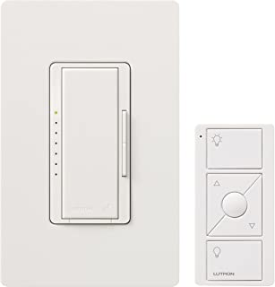 Lutron MRF2-600MTHW-WH Maestro Wireless 600-Watt Multi-Location Dimmer with Controller and Wallplate, White