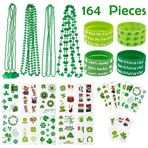 Whaline 164 Pieces St. Patrick's Day Party Favor Set Include 12 Green Rubber Wristbands bracelet, 12 Shamrock Necklace and 140 Piece Temporary Tattoo Sticker for St. Patrick Irish Party Supplies Decorations