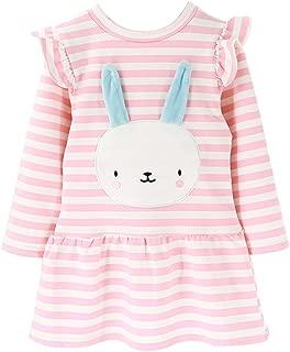 Cute Toddler Girl Floral Print Bunny Stripe Dress, Adorable Kids Sweet Shirt Top and Skirt Patchwork Dress