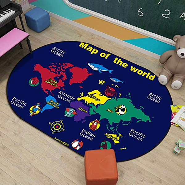 JIFAN Baby Crawling Mat Educational Kids Area Rugs Children Learning Rugs With World Map Large Carpet Children Rug Animal Play Mat For Children Bedroom Nursery Classroom Multiple Patterns