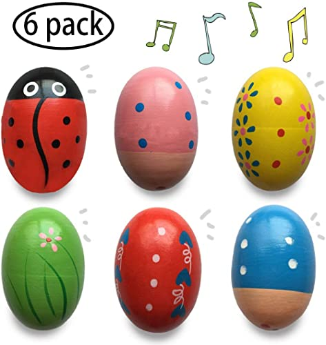Jofan 6 Pack Wooden Percussion Musical Shake Egg Easter Egg Shakers for Kids Boys Girls Toddlers Party Favors