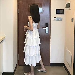 女性の甘くて素敵な多層ケーキスカートロングVネックスリングドレスウエストドレス (Color : White, Size : Free size)