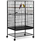 MILO & MISTY Large Bird Cage – 2 Tier Parrot Cage Metal Aviary for Budgies, Cockatiels, Cockatoos and More - Black