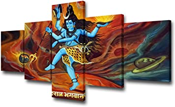 Indian Pictures Shiva Lord Paintings Hindu Wall Art 5 Piece Canvas Modern Artwork Contemporary Home Decor for Living Room Giclee Wooden Framed Gallery-wrapped Stretched Ready to Hang(50''Wx24''H)