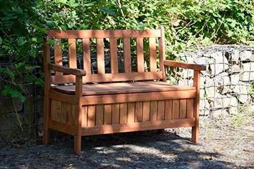 dobar Gartenbank Massive mit Lehne 2-Sitzer aus FSC Holz, 115x58x89cm, braun - 6