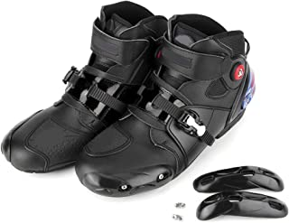 Gorgeri Motorcycle Boots,Motorcycle Dress Boots Men Soft Comfortable Non-Slip Breathable Protector Motorbike Shoes(46-Black)
