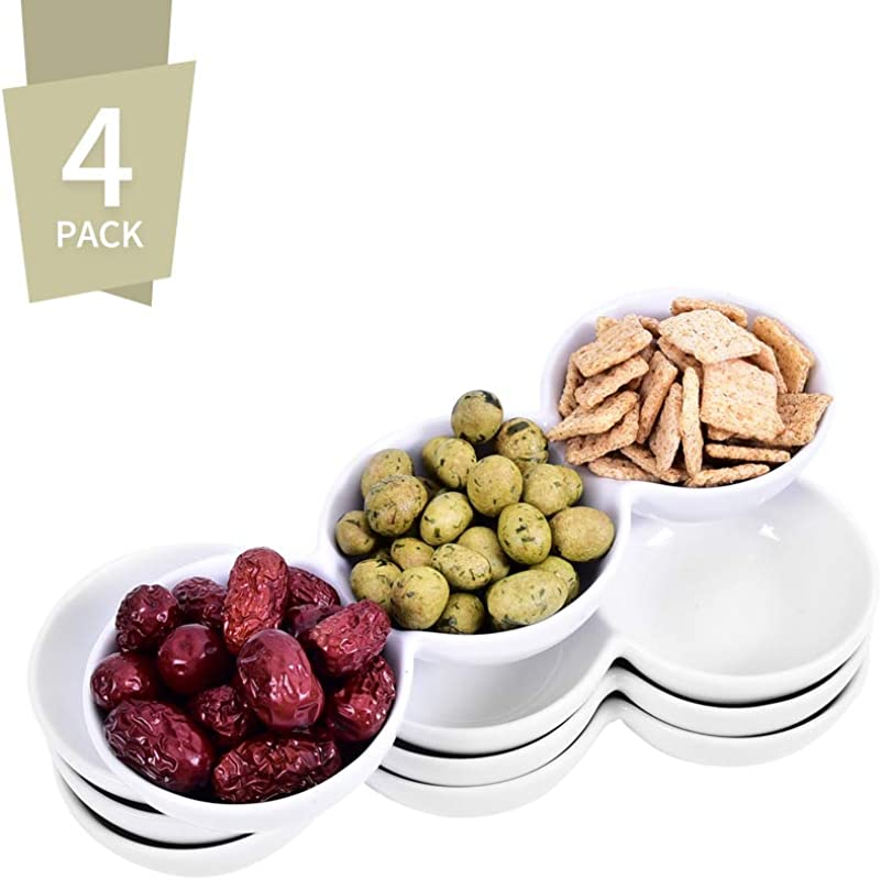 Singkasa 3 Compartment Porcelain Appetizer Serving Tray Triplet Bowl Bowl Set Great For Snacks Dips White 9 5 Inch 18 Ounce Set Of 4