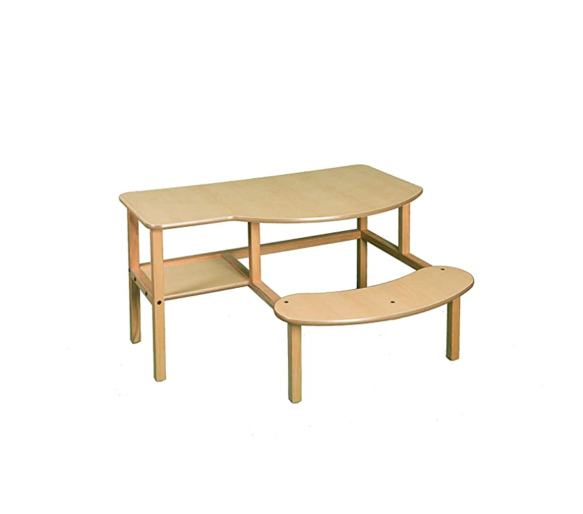 Childs Wooden Computer Desk for 1-2 Kids Ages 5-10 - Maple Decor Comfy Living Furniture Deluxe Premium Collection