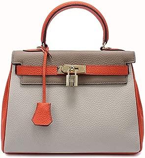 Fine Bag/Handbag Women's Handbag Color Matching Leather Bag Fashion Shoulder Bag Temperament Messenger Bag Portable (Color : Orange, Size : M)