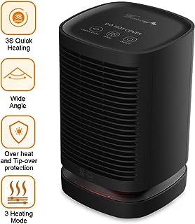 Weixinbuy Calefactor Cerámico 950W Bajo Consumo Claentador Eléctrico Portátil de Aire Caliente para Cuarto Baño Oficina, Oscilación Automática, Doble Protección de Seguridad, 3 Modos de Viento