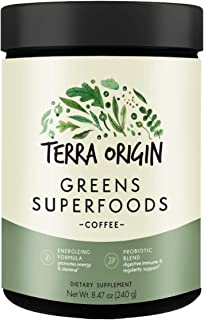 Sponsored Ad - Terra Origin, Greens Superfood Nutrient Rich Antioxidant and Probiotic Formula, Coffee. 20+ Natural and Org...
