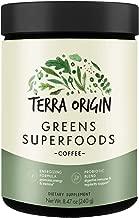Terra Origin, Greens Superfood Powder, Probiotic 2.1 Billion CFU, Coffee, 30 Servings, 20+ Green Ingredients, Gluten Free, Probiotic Blend, Promotes Energy and Stamina