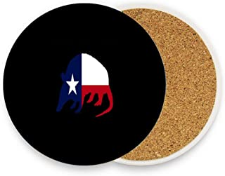 Armadillo Shaped Texas Flag Lonestar Coaster for Drinks - Absorbent Ceramic Stone Drink Coaster with Cork Back Prevent Scratched Round Coaster for Mugs and Cups Home Office Bar