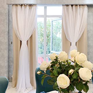 PONY DANCE Sheer Curtains Blackout - Heavy-Duty Light Block Window Curtain Panels Modern Voile Crushed Sheer Linen, 52 x 108 inches, Biscotti Beige, 1 Pair