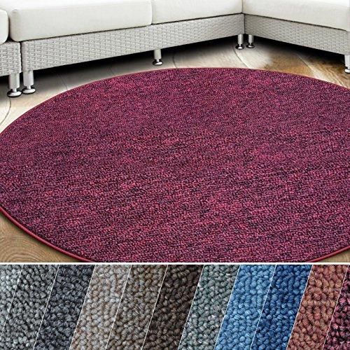 casa pura Teppich London | viele Größen | pflegeleichter Flacher Schlingenflor | Flurteppich, Wohnzimmerteppich, Küchenteppich, Schlafzimmerteppich (Weinrot - rund 200 cm Durchmesser)