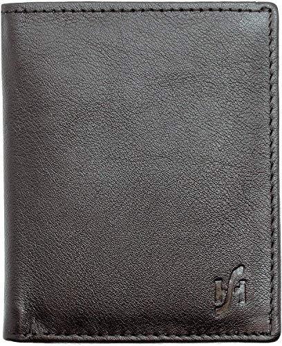 Starhide, mini portafoglio per uomo con tasca note, in vera pelle –205, Nero