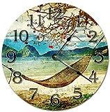 prz0vprz0v Reloj clásico de madera, sin tachuelas, 12 pulgadas, estilo vintage, hamaca de playa, arte reloj decorativo de madera, reloj de pared redondo