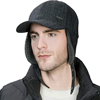 Jeff & Aimy Winter Woolen Baseball Sports Cap Cold Weather Running Outdoor Grid