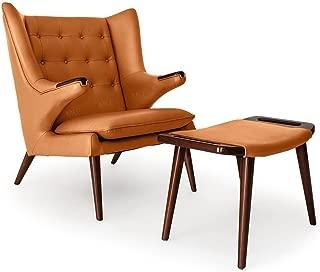 Emorden Furniture Papa Bear Wing Chair & Ottoman(Multi Colors Available), Light Brown Premium Italian Leather/Walnut Legs