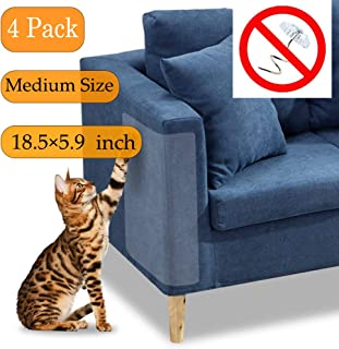 NiuXTool Cat Claw Furniture Protector Pad, 4 Pack Thicker Clear Self-Adhesive Pet Scratch Guard for Sofa Wall Mattress Car Seat Protect with 20 pcs Free Pins