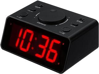 KWANWA trådlös digital LED dubbel väckarklocka lätt att ställa in 2 högt larm med 1,2 cm röda siffror display för sovrum n...