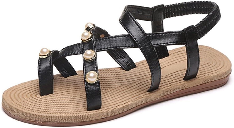 LZWSMGS Artificial PU Sandals Women's Summer Flat Toe Beach shoes Wild Simple Cross Strap Student shoes Black White 35-40cm Ladies Sandals (color   Black, Size   36)