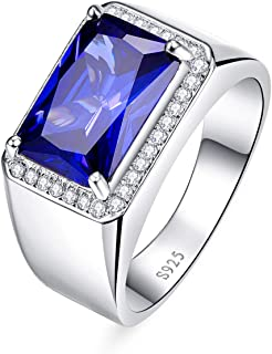 BONLAVIE Men's Halo Engagement Rings 7.0ct Radiant Cut Created Blue Sapphire Solid 925 Sterling Silver Eternity Wedding Band Size 5-14