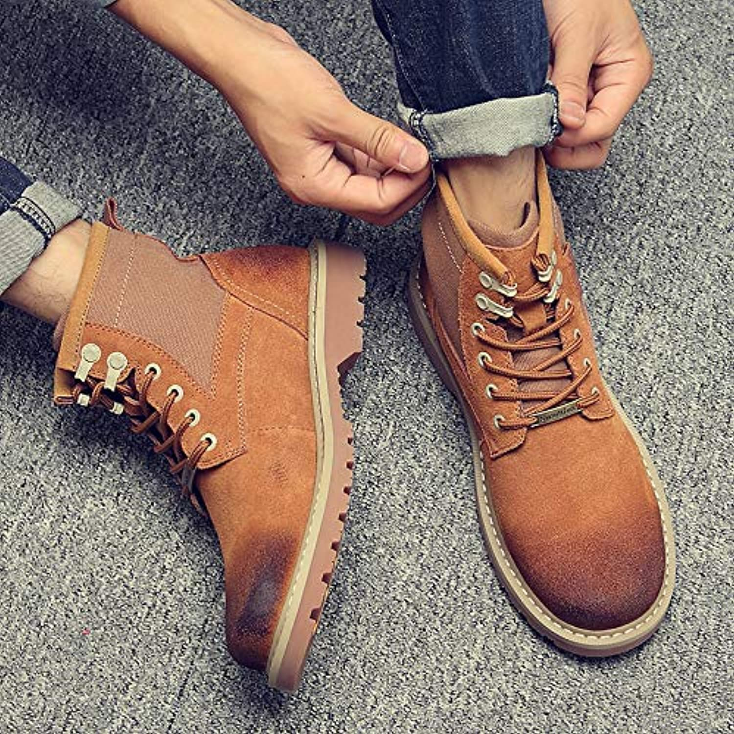 Shukun Men's boots Autumn And Winter Martin Boots Men'S Pu Boots Boots shoes Wild High To Help Desert Boots Men'S shoes