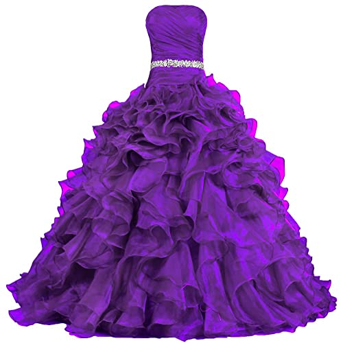 a5d8d4e5318 ANTS Women s Pretty Ball Gown Quinceanera Dress Ruffle Prom Dresses