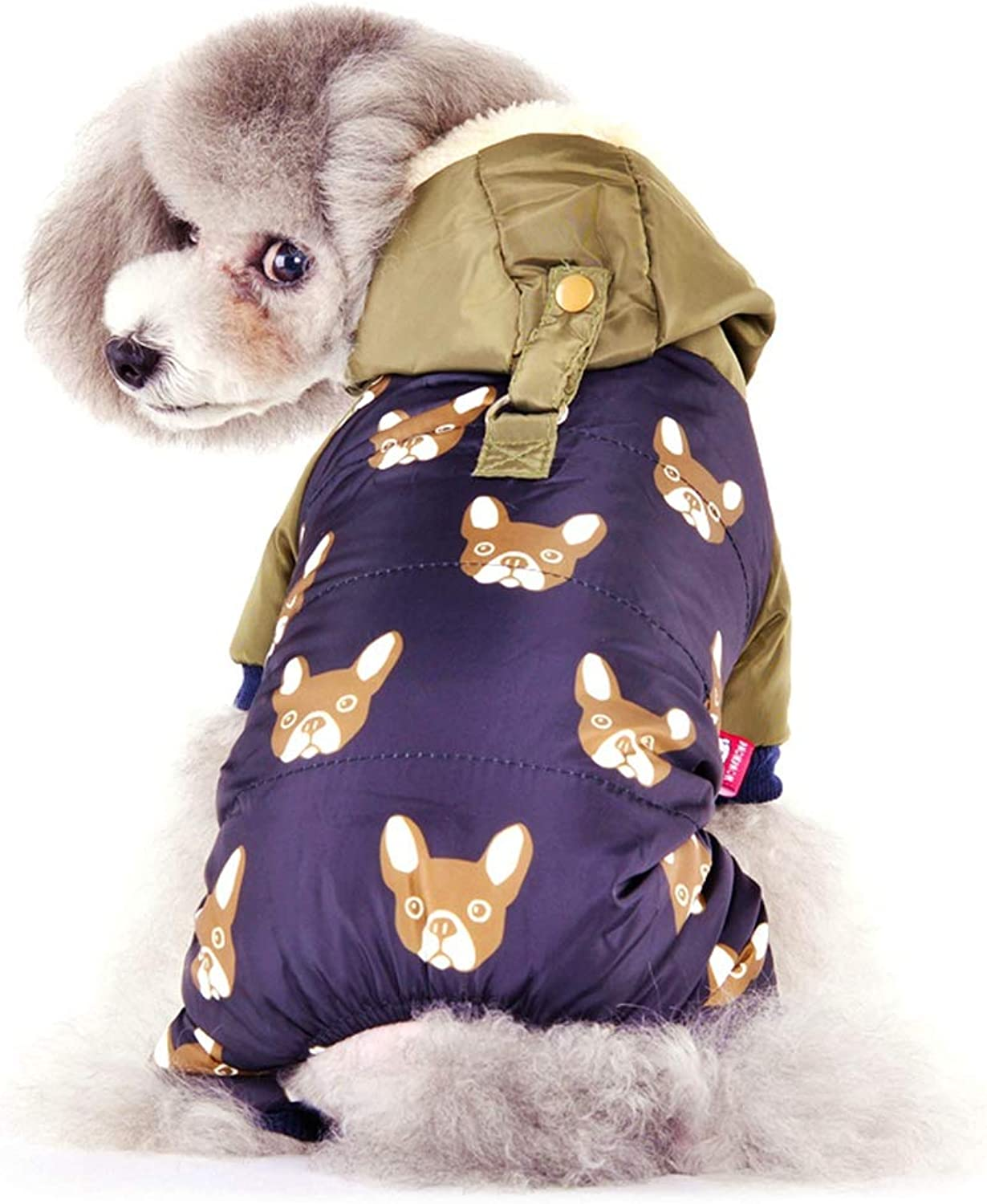 AOBRITON Bulldog Costumes for Dog Winter Warm Snow Down Jacket Coat for Puppies Small Medium Animal Pet Cat Clothes Goods
