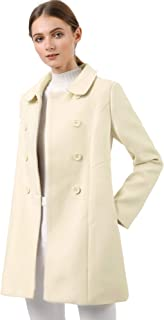 Allegra K Women's Peter Pan Collar Double Breasted Trench Coat