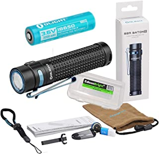 Olight S2R II rechargeable 1150 Lumens EDC LED Flashlight with Li-ion battery, flex magnetic USB charging cable and EdisonBright BBX3 battery carry case bundle