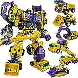 Deformation Oversize Toys Robot Devastator TF Engineering Combiner 6 in 1 Action Figure Car Truck Model Gift for Kids Boys (Yellow)