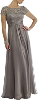 Newdeve Chiffon Mother Of The Bride Dresses Long Pleated With Rhinestones Short Sleeve