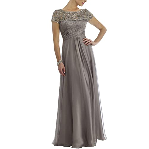 Newdeve Chiffon Mother Of The Bride Dresses Long Pleated With Rhinestones  Short Sleeve 8cfade0f9