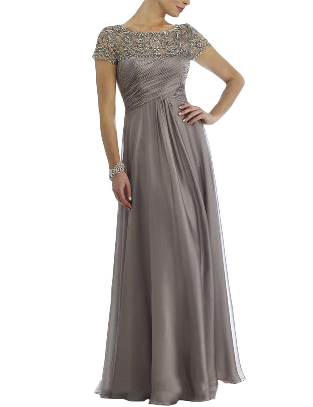 Mother Of The Bride Dresses - Newdeve Chiffon Mother Of The Bride Dresses Long Pleated With Rhinestones Short Sleeve