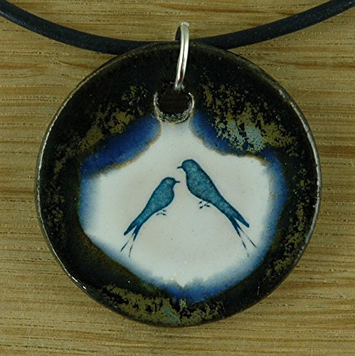 Echtes Kunsthandwerk: Hübscher Keramik Anhänger Blaue Vögel; Vogel, Nachtigall, Geschenk, Amulett, Mitbringsel