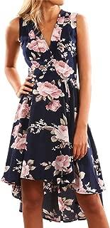 Women V Neck Dresses Floral Printed High Low Short Mini Beach Party Sundress Zulmaliu