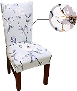 House of Quirk Elastic Chair Cover Stretch Removable Washable Short Dining Chair Cover Protector Seat Slipcover - Light Blue Flower
