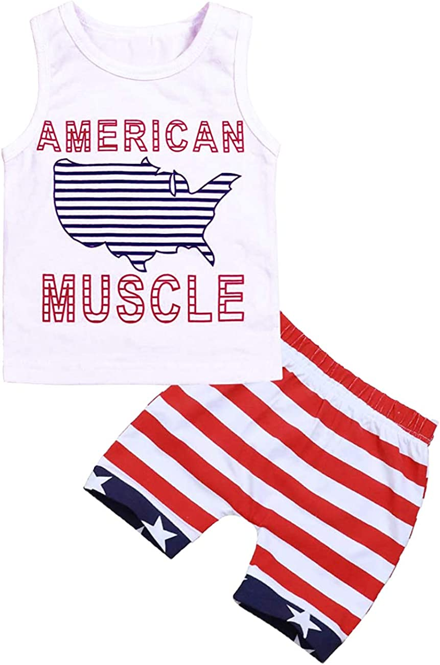 4th of July Toddler Baby Boy Outfits American Muscle Printed Vest Top+Shorts Independence Day Infant Clothes Set