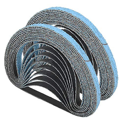20 bandas de lija de circonio de grano 60, 13 x 457 mm, papel de lija abrasivo para acero inoxidable, metal y aleación de aluminio pulido