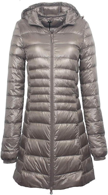 Aehoor Long Down Jacket Female Winter Ultra Light Hooded Down Jacket90% Duck Down