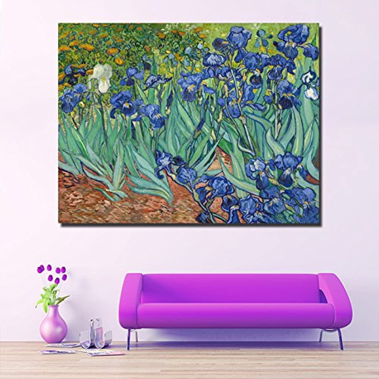 Farsla Iris 5D DIY Crystal Full Diamond Painting Van Gogh Flowers Round Number Kit Mosaics Rhinestone Painting for Wall Decoration 12X16inch