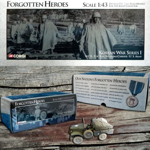 Corgi Forgotten Heroes Die Cast 1 43 Scale Korean War Series I WC51 3 4 Ton Weapons voiturerier U.S. Army by Forgotten Heroes