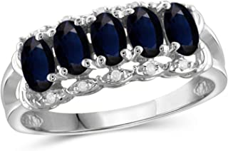 Jewelexcess 1.60 Carat T.G.W. Sapphire and 1/20 CTW White Diamond Sterling Silver 5-Stone Ring