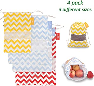 Simply Eco 4 pack Cotton Muslin Reusable Produce Bags, Breathable Canvas Sack with Drawstring & Mesh See-Through Window, Storage for Clothes, Laundry, Fruits & Vegetables Travel Shoe Bag (Color Waves)